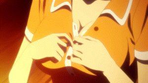 Anime chick unbuttoning her shrt