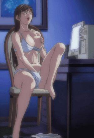 Anime hottie rubbimg herself