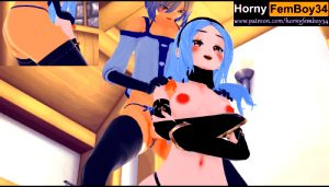 Gravity Rush – huge ass Kat was creampie by Femboy in the bath