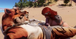 Tiger Beast gets a blowjob from red hair slut